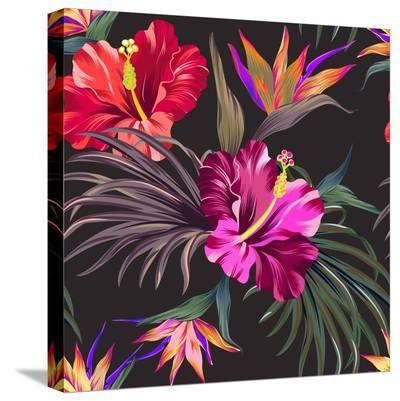 Seamless Vector Tropical Pattern. Vintage Style Hibiscus Flowers, Bird of Paradise, and Palm Leaves-rosapompelmo-Stretched Canvas Print