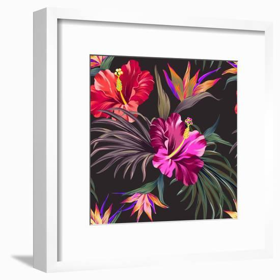 Seamless Vector Tropical Pattern. Vintage Style Hibiscus Flowers, Bird of Paradise, and Palm Leaves-rosapompelmo-Framed Art Print