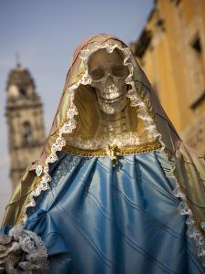 Skeleton Adorned as Virgin Mary by Sean Caffrey