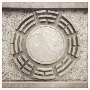 A Yin Yang Symbol Carved into a Temple Wall in Nanjing by Sean Gallagher