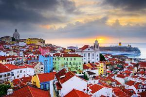Lisbon, Portugal Sunrise Skyline at Alfama District by Sean Pavone