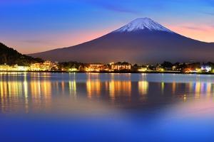 Mt. Fuji, Japan at Lake Kawaguchi after Sunset. by Sean Pavone