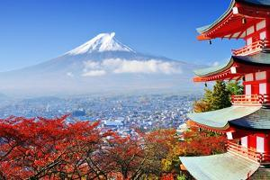 Mt. Fuji with Fall Colors in Japan. by Sean Pavone