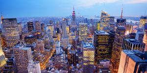 Panorama of New York City in Midtown Manhattan. Low Color Saturation by Sean Pavone