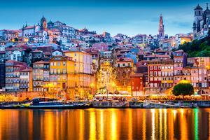 Porto, Portugal Old City Skyline from across the Douro River by Sean Pavone