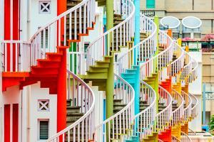 Singapore at Bugis Village Spiral Staircases. by Sean Pavone