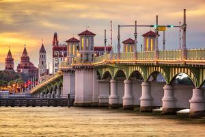 St. Augustine, Florida, USA City Skyline and Bridge of Lions by Sean Pavone