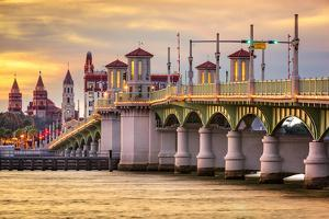 St. Augustine, Florida, USA City Skyline and Bridge of Lions by Sean Pavone