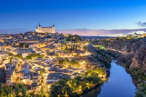Toledo, Spain Town Skyline on the Tagus River at Dawn by Sean Pavone