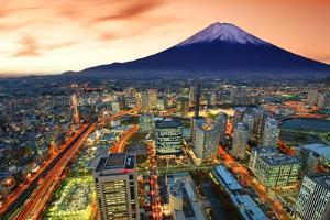 View of Yokohama and Mt. Fuji in Japan. by Sean Pavone