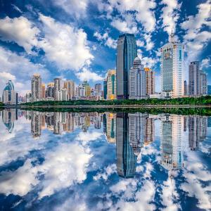 Xiamen, China Skyline on Yundang Lake by Sean Pavone