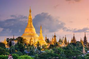 Yangon, Myanmar View of Shwedagon Pagoda at Dusk by Sean Pavone