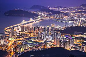 Busan, South Korea Aerial View at Night. by SeanPavonePhoto