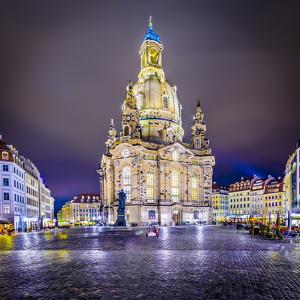 Dresden, Germany at Neumarkt Square and Frauenkirche at Night. by SeanPavonePhoto