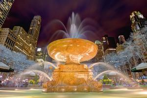Fountain in Bryant Park in New York City. by SeanPavonePhoto