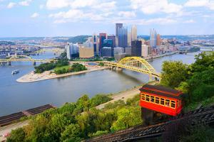 Incline Operating in Front of the Downtown Skyline of Pittsburgh, Pennsylvania, Usa. by SeanPavonePhoto