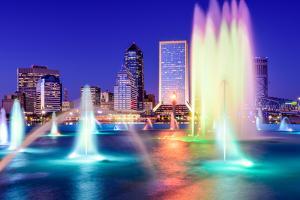 Jacksonville, Florida, USA Skyline at the Fountain. by SeanPavonePhoto