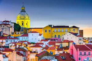 Lisbon, Portugal Skyline at Alfama, the Oldest District of the City with the National Pantheon Dome by SeanPavonePhoto