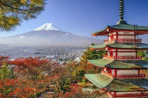 Mt. Fuji, Japan Viewed from Chureito Pagoda in the Autumn. by SeanPavonePhoto