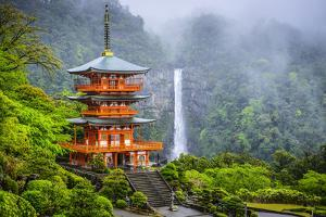 Nachi, Japan at Nachi Taisha Shrine Pagoda and Waterfall. by SeanPavonePhoto