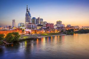 Nashville, Tennessee, USA Downtown Skyline on the Cumberland River. by SeanPavonePhoto