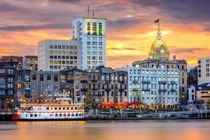 Savannah, Georgia, USA Riverfront Skyline. by SeanPavonePhoto