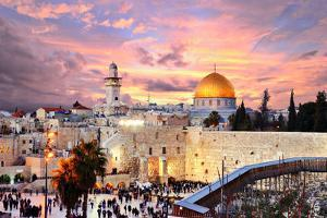 Skyline of the Old City at He Western Wall and Temple Mount in Jerusalem, Israel. by SeanPavonePhoto
