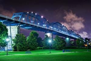 Walnut Street Bridge over Coolidge Park in Chattanooga, Tennessee. by SeanPavonePhoto