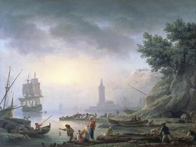 Seaport at Dawn, 1751-Claude Joseph Vernet-Giclee Print
