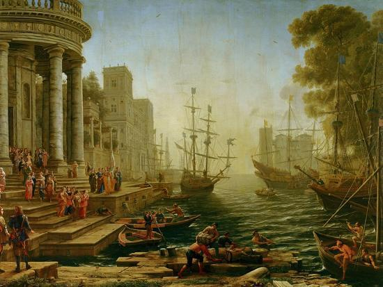 Seaport with the embarkation of Saint Ursula, 1614-Claude Lorrain-Giclee Print