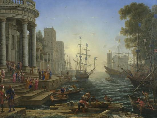 Seaport with the Embarkation of Saint Ursula, 1641-Claude Lorraine-Giclee Print