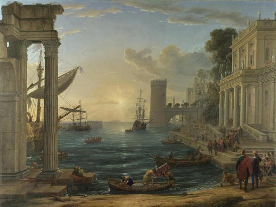 Seaport with the Embarkation of the Queen of Sheba, 1648-Claude Lorraine-Giclee Print