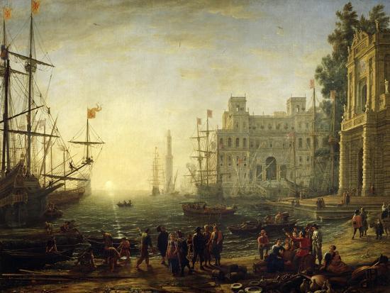 Seaport with Villa Medici-Claude Lorraine-Giclee Print
