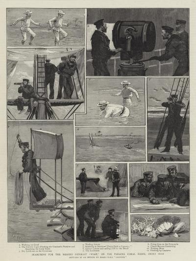 Searching for the Missing Gunboat Wasp, on the Parcel Coral Reefs, China Seas-Joseph Nash-Giclee Print