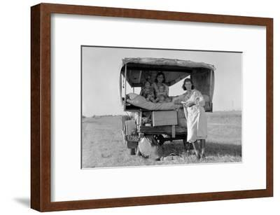 Searching for Work in the Cotton Fields-Dorothea Lange-Framed Art Print
