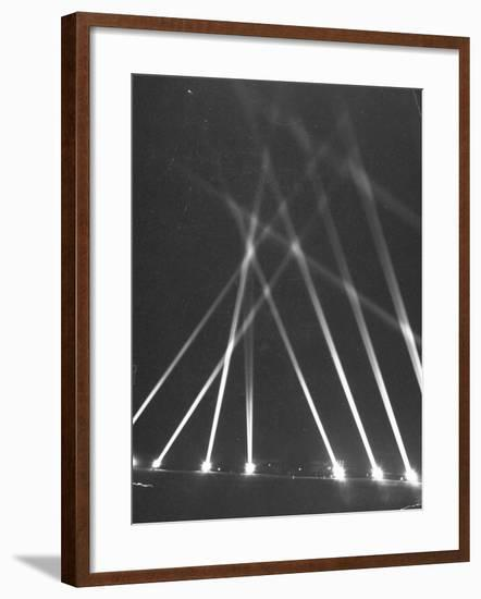 Searchlights Being Used Along the Panama Canal as an Anti-Aircraft Defense--Framed Photographic Print