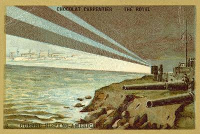 Searchlights from a Shore Battery Illuminating a Fleet of Warships, Spanish-American War, 1898--Giclee Print