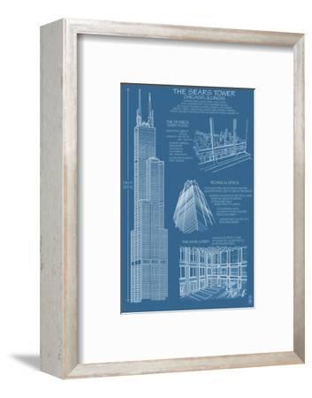 Sears Tower Blue Print - Chicago, Il, c.2009-Lantern Press-Framed Art Print