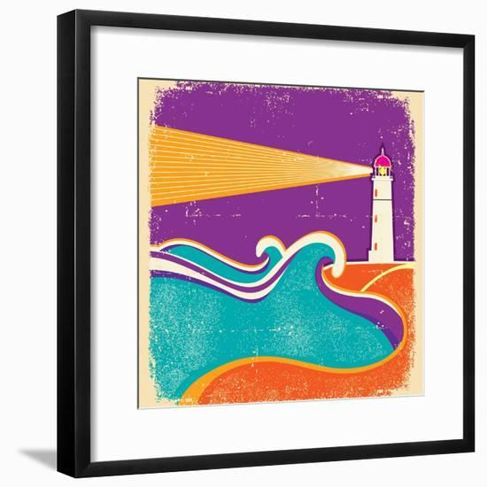Seascape Horizon With Lighthouse On Grunge Paper Texture-GeraKTV-Framed Premium Giclee Print