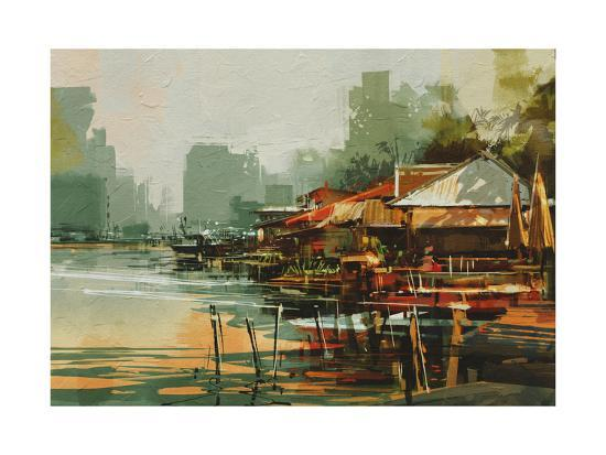 Seascape Painting Showing Old Fishing Village,Watercolor Style-Tithi Luadthong-Art Print