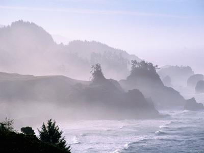 Seascape, Sea Mist on Coastline, Oregon-John Elk III-Photographic Print