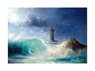 Seascape Wave and Lighthouse- yakymenko-Art Print