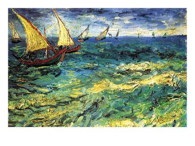 Seascape with Sailboats-Vincent van Gogh-Art Print