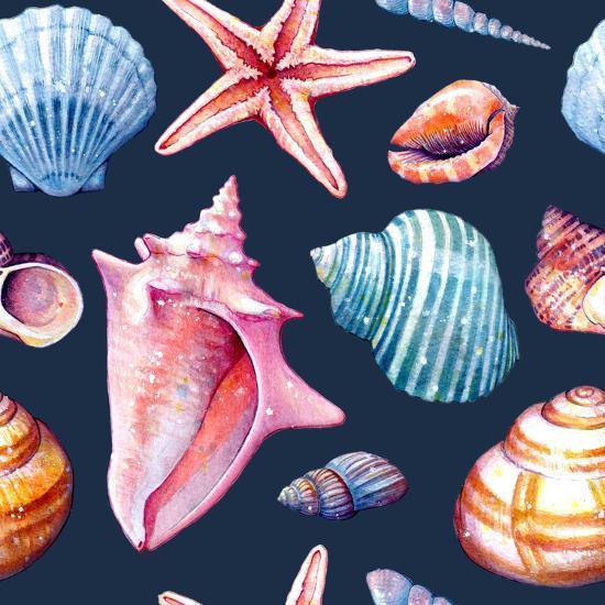 Seashells Pattern Colorful Dark Repeat Tile-Sam Nagel-Art Print