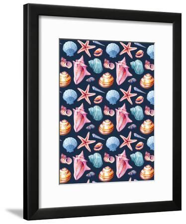 Seashells Pattern Colorful Dark-Sam Nagel-Framed Art Print