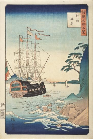 Seashore in Taish? from Series One Hundred Views of Celebrated Places in Various Provinces, c.1850-Ando or Utagawa Hiroshige-Giclee Print