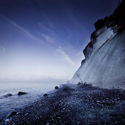 Seaside and Chalk Mountain in the Evening, Mons Klint Cliffs, Denmark--Photographic Print