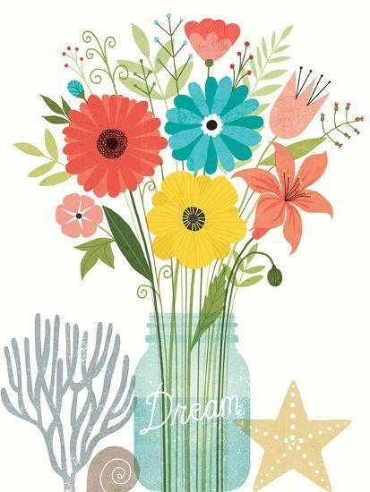 Seaside Bouquet III Mason Jar-Michael Mullan-Art Print