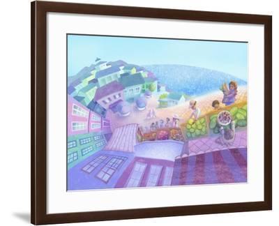 Seaside Market Landscape-April Hartmann-Framed Giclee Print