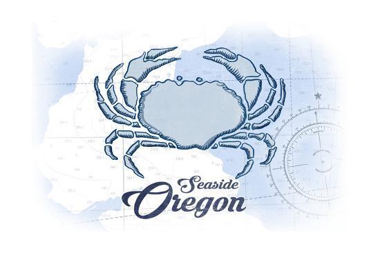 Seaside, Oregon - Crab - Blue - Coastal Icon-Lantern Press-Art Print